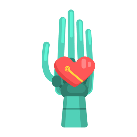 bionics: Metal Android Hand Holding Heart Shape Element, Part Of Futuristic Robotic And IT Science Series Of Cartoon Icons
