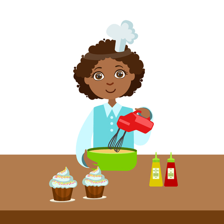 Boy Using Mixer In Bowl, Cute Kid In Chief Toque Hat Cooking Food Vector Illustration