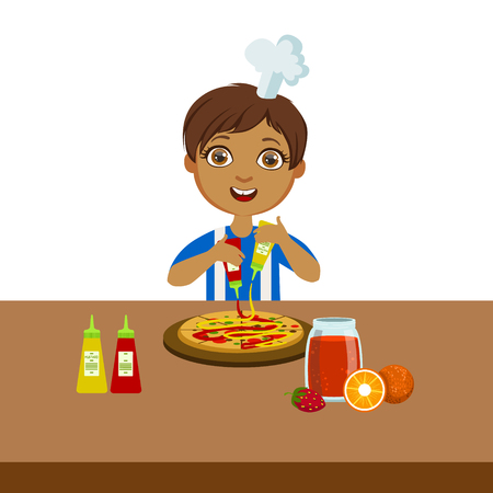 Boy Making Pizza, Cute Kid In Chief Toque Hat Cooking Food Vector Illustration