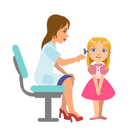 Otolaryngologist Checking Hearing Of A Little Girl, Part Of Kids Taking Health Exam Series Of Illustrations