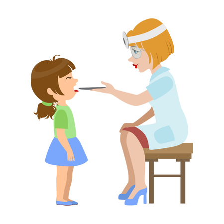 Therapist Checking Throat Of A Little Girl, Part Of Kids Taking Health Exam Series Of Illustrations