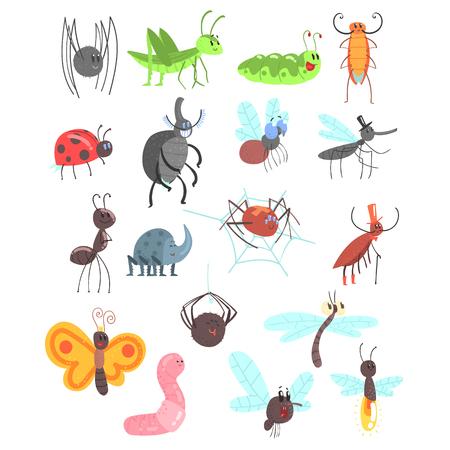 漫画のバグ、甲虫、ハエ、クモなどの小動物とかわいい友好的な昆虫セット  イラスト・ベクター素材