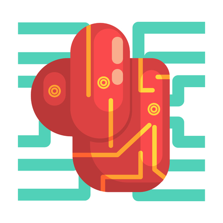 bionics: Electronic Android Heart Internal Organ, Part Of Futuristic Robotic And IT Science Series Of Cartoon Icons
