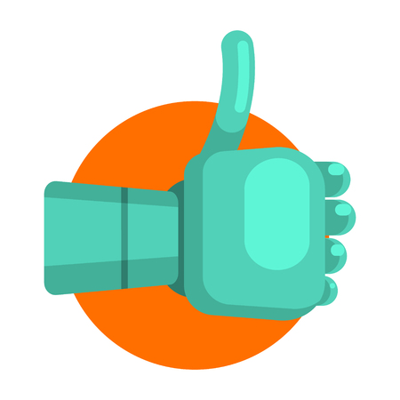 Metal Android Hand Showing Thumb Up, Part Of Futuristic Robotic And IT Science Series Of Cartoon Icons Illustration