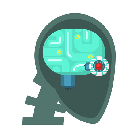 bionics: Android Head Cut Through With Electronic Eye And Brain Inside, Part Of Futuristic Robotic And IT Science Series Of Cartoon Icons Illustration