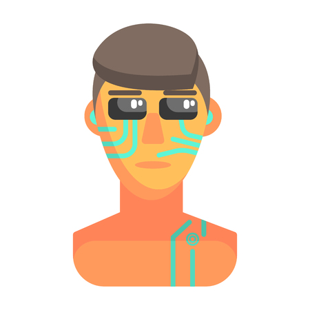 bionics: Humanized Android Portrait With Electronic Elements, Part Of Futuristic Robotic And IT Science Series Of Cartoon Icons