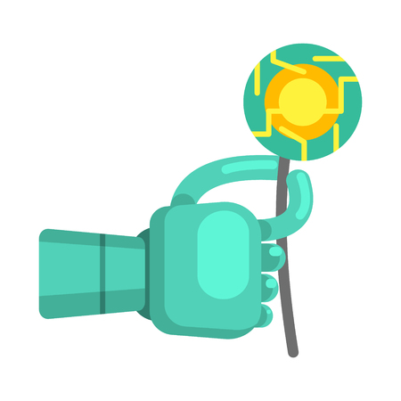 bionics: Metal Android Hand Holding Electronic Flower, Part Of Futuristic Robotic And IT Science Series Of Cartoon Icons