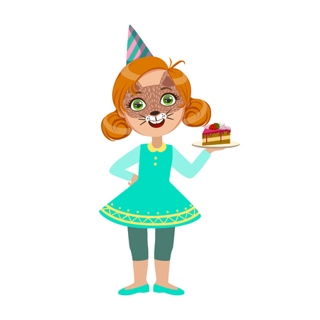 Girl In Cat Mask With Cake Piece, Part Of Kids At The Birthday Party Set Of Cute Cartoon Characters With Celebration Attributes