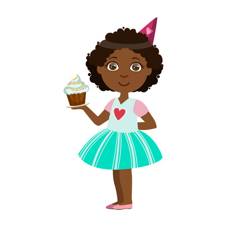 having fun: Girl With Cupcake, Part Of Kids At The Birthday Party Set Of Cute Cartoon Characters With Celebration Attributes