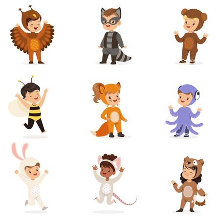 Kinds In Animal Costume Disguise Happy And Ready For Halloween Masquerade Party Set Of Cute Disguised Infants Illustration