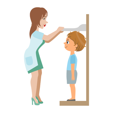 Pediatrician Measuring Heights Of Little Boy, Part Of Kids Taking Health Exam Series Of Illustrations