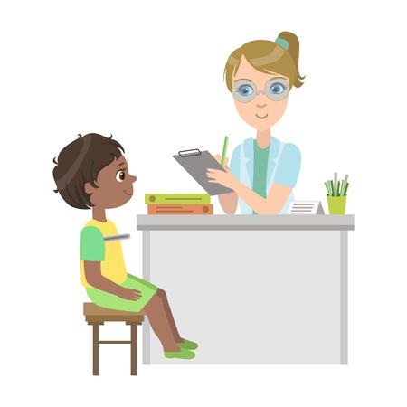 Pediatra medir la temperatura de Little Boy, parte de los niños tomando examen de salud serie de ilustraciones Vectores