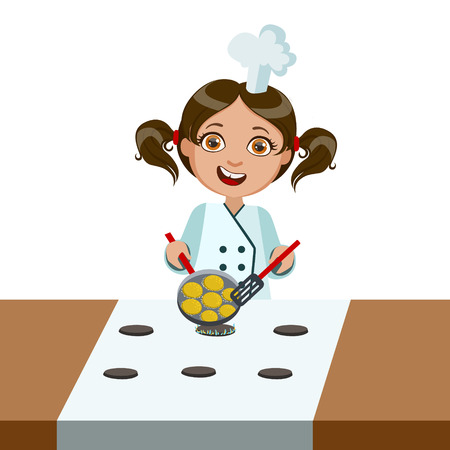 Girl Frying Nuggets On Electric Stove, Cute Kid In Chief Toque Hat Cooking Food Vector Illustration