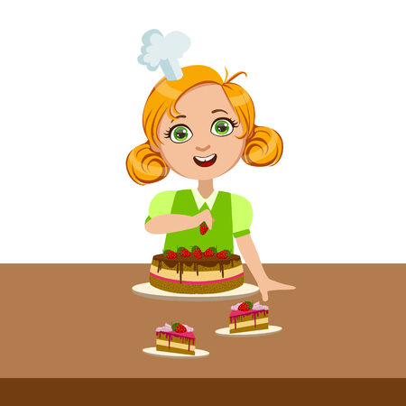 Girl Decorating The Cake, Cute Kid In Chief Toque Hat Cooking Food Vector Illustration Stock Photo