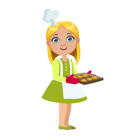 Girl With Tray Of Cookies, Cute Kid In Chief Toque Hat Cooking Food Vector Illustration Illustration