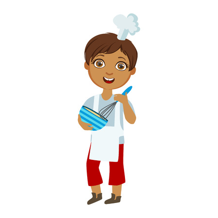 Boy Mixing Sauce In Bowl With Whip, Cute Kid In Chief Toque Hat Cooking Food Vector Illustration Illustration