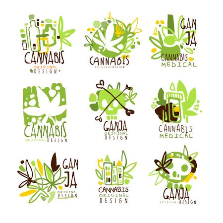 Medische Ganja Kleurrijke Grafische Ontwerp Sjabloon Logo Serie, Hand Getekende Vector Stencils Stock Illustratie