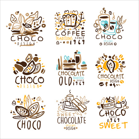 Chocolate Traditions Colorful Graphic Design Template   Series,Hand Drawn Vector Stencils