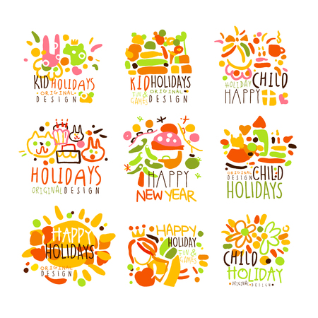 Happy Kid Holiday Colorful Graphic Design Template  Series,Hand Drawn Vector Stencils