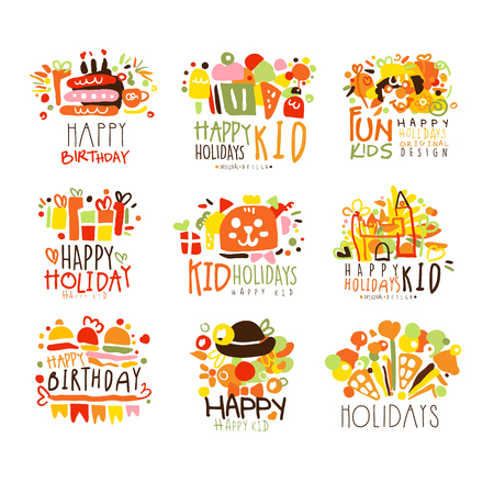 Happy Child Holiday Colorful Graphic Design Template  Series,Hand Drawn Vector Stencils