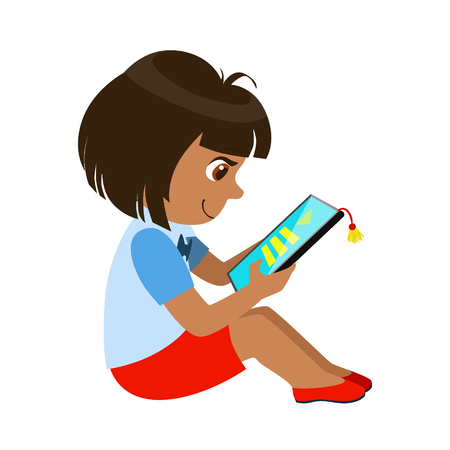 Girl Sitting Reading And Electronic Book, Part Of Kids And Modern Gadgets Series Of Vector Illustrations 向量圖像