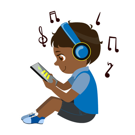 Boy Reading Text From Tablet And Listening To Music Through Headphones, Part Of Kids And Modern Gadgets Series Of Vector Illustrations