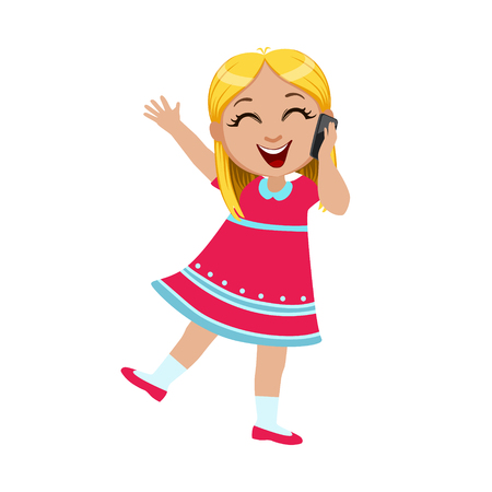niños platicando: Girl Laughing Talking On The Smartphone, Part Of Kids And Modern Gadgets Series Of Vector Illustrations