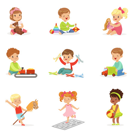 Cute Children Playing With Different Toys And Games Having Fun On Their Own Enjoying Childhood. Ilustração