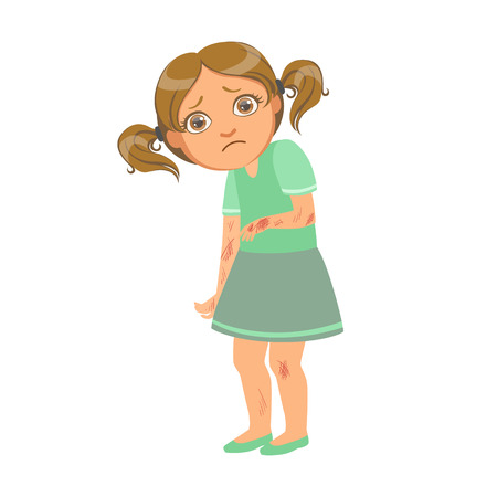 Girl With Many Scratches,Sick Kid Feeling Unwell Because Of The Sickness, Part Of Children And Health Problems Series Of Illustrations
