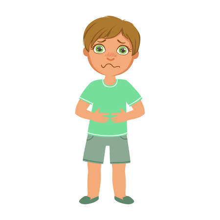 Boy With Stomach Cramps,Sick Kid Feeling Unwell Because Of The Sickness, Part Of Children And Health Problems Series Of Illustrations