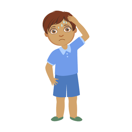 Boy With A Headache,Sick Kid Feeling Unwell Because Of The Sickness, Part Of Children And Health Problems Series Of Illustrations