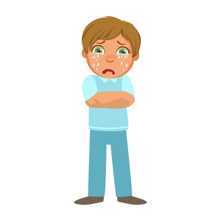 malady: Boy Shivering With Fever,Sick Kid Feeling Unwell Because Of The Sickness, Part Of Children And Health Problems Series Of Illustrations