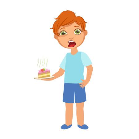 Jongen met taart Misselijk, ziek kind Zich onwel voelen vanwege de ziekte, deel van kinderen en gezondheidsproblemen Serie van illustraties