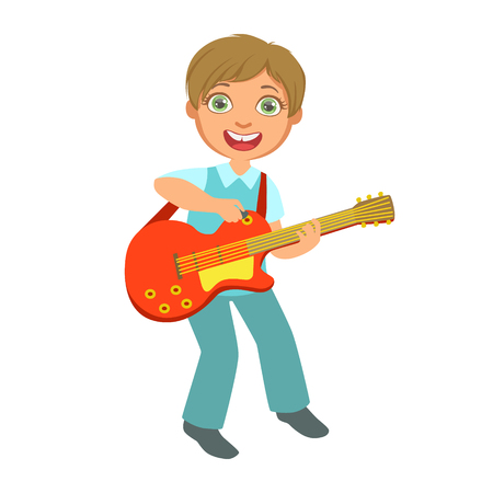 Boy Playing Electric Guitar, Kid Performing On Stage, School Showcase Participant With Musical Artistic Talent