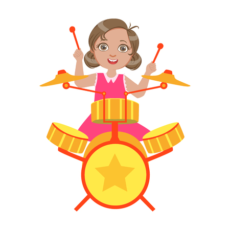 Meisje met drums, Kid op het podium, schoolshow-deelnemer met muzikaal artistiek talent