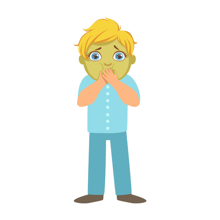 Nauseous Boy With Green Face,Sick Kid Feeling Unwell Because Of The Sickness, Part Of Children And Health Problems Series Of Illustrations