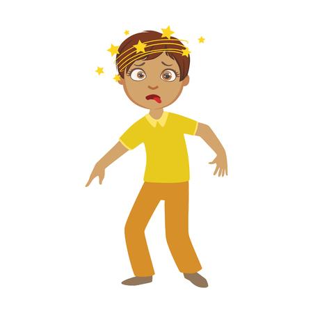 Niño y mareos, niño enfermo sensación de malestar a causa de la enfermedad, parte de los niños y problemas de salud serie de ilustraciones Ilustración de vector