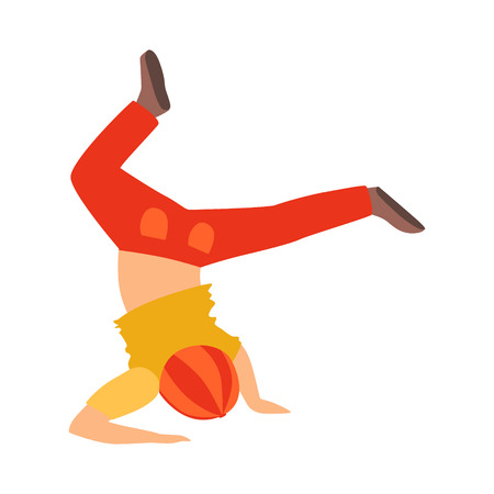 Boy Doing Headstand Dancing Breakdance Performing On Stage, School Showcase Participant With Musical Artistic Talent 向量圖像
