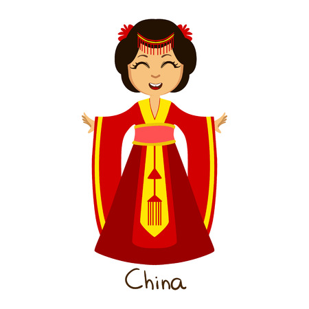 Girl In China Country National Clothes, Wearing Red Dress Traditional For The Nation Illustration