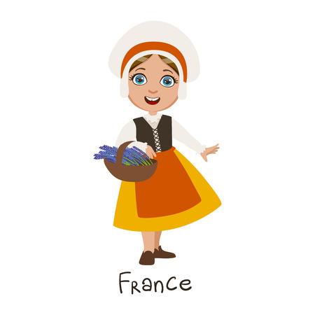 french culture: Girl In France Country National Clothes, Wearing Bonnet And Apron Traditional For The Nation