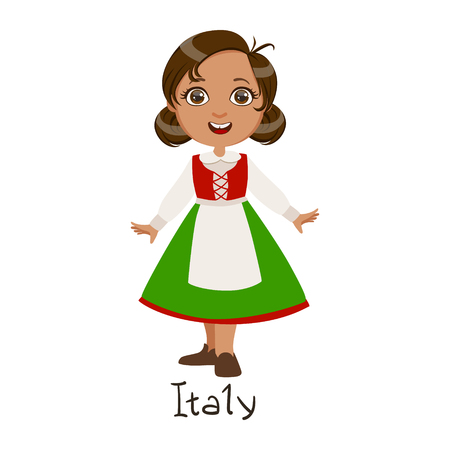 Girl In Italy Country National Clothes, Wearing Green Skirt And Apron Traditional For The Nation Illustration