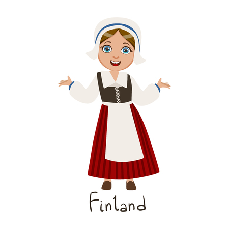 Girl In Finland Country National Clothes, Wearing Bonnet And Corset Traditional For The Nation Illustration