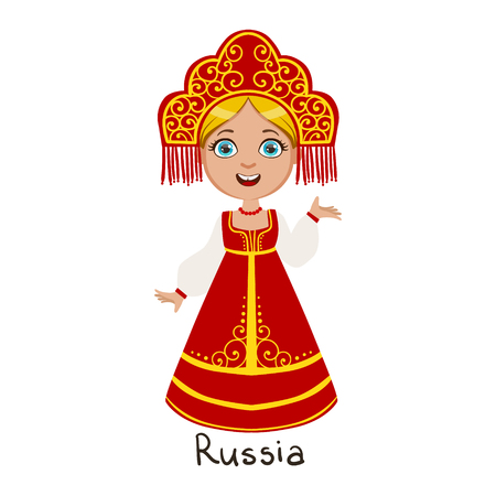 Girl In Russia Country National Clothes, Wearing Sarafan And Headdress Traditional For The Nation