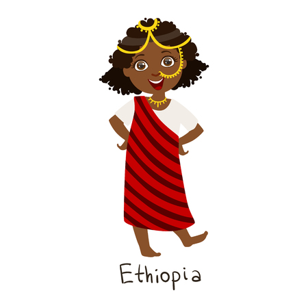 Girl In Ethiopia Country National Clothes, Wearing Stripy Cloth And Nose Chain Jewelry Traditional For The Nation
