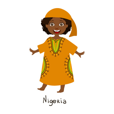 Girl In Nigeria Country National Clothes, Wearing Orange Dress nd Bandana Traditional For The Nation