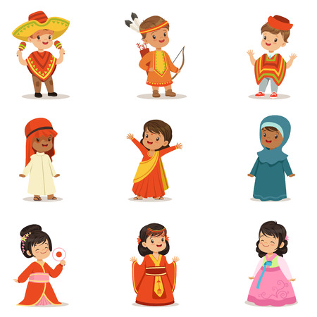 Kids Wearing National Costumes Of Different Countries Collection Of Cute Boys And Girls In Clothes Representing Nationality Ilustrace