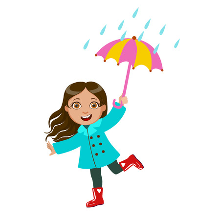 Girl Dancing Under Raindrops With Umbrella, Kid In Autumn Clothes In Fall Season Enjoyingn Rain And Rainy Weather, Splashes And Puddles