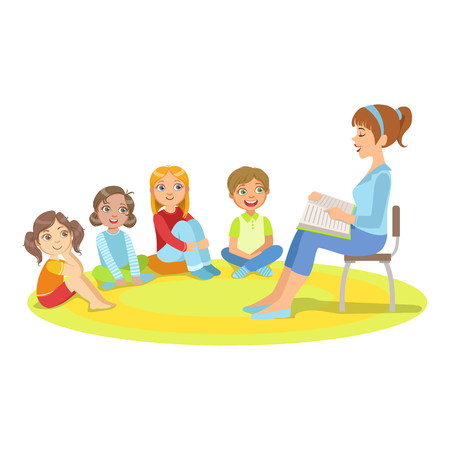enjoying: Group Of Small Kids Sitting Around The Teacher Reading A Story