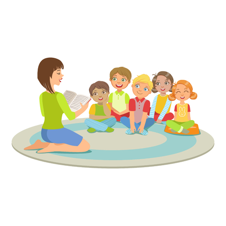 bookworm: Group Of Small Kids Sitting Around The Teacher On The Floor Reading A Story Illustration