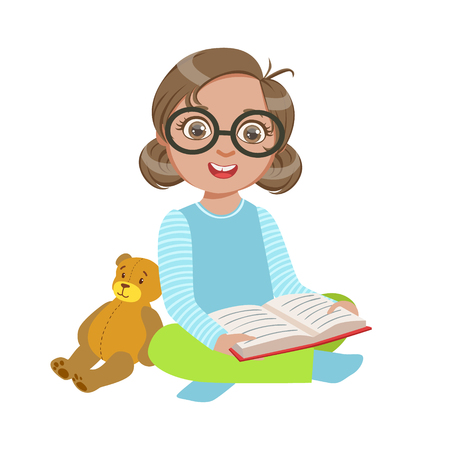 bookworm: Girl In Glasses With Teddy Bear Reading A Book, Part Of Kids Loving To Read Vector Illustrations Series Illustration